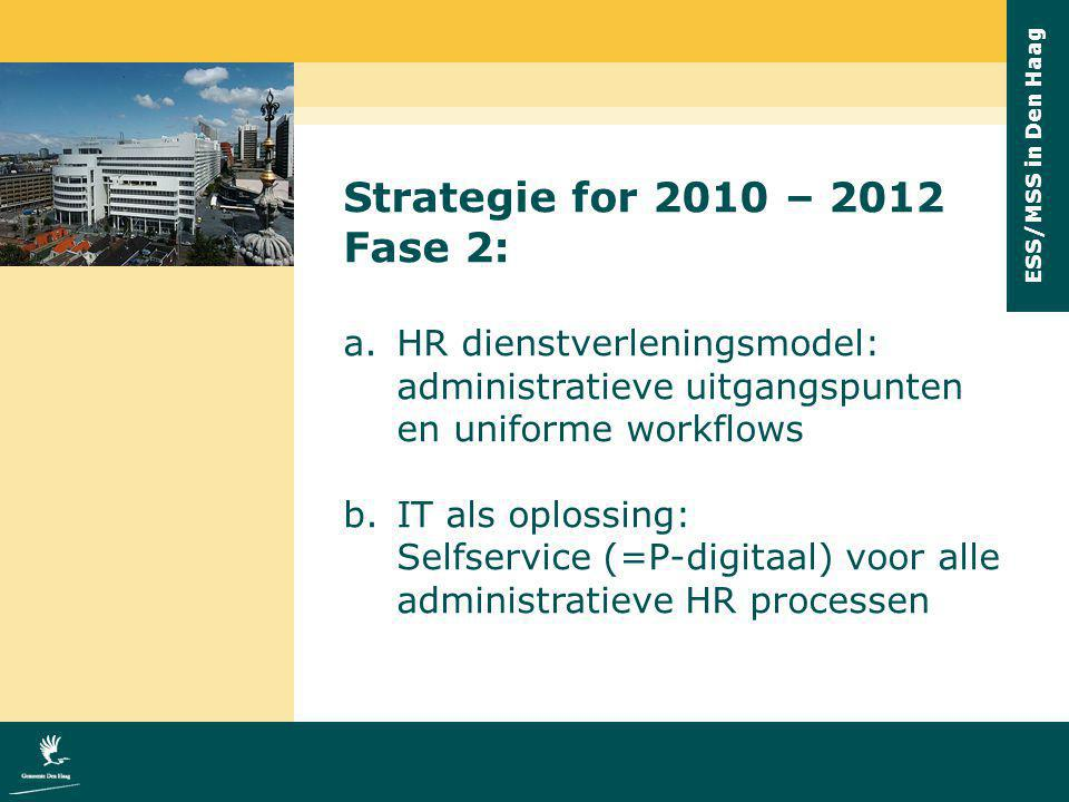 ESS/MSS in Den Haag Strategie for 2010 – 2012 Fase 2: a.HR dienstverleningsmodel: administratieve uitgangspunten en uniforme workflows b.IT als oploss
