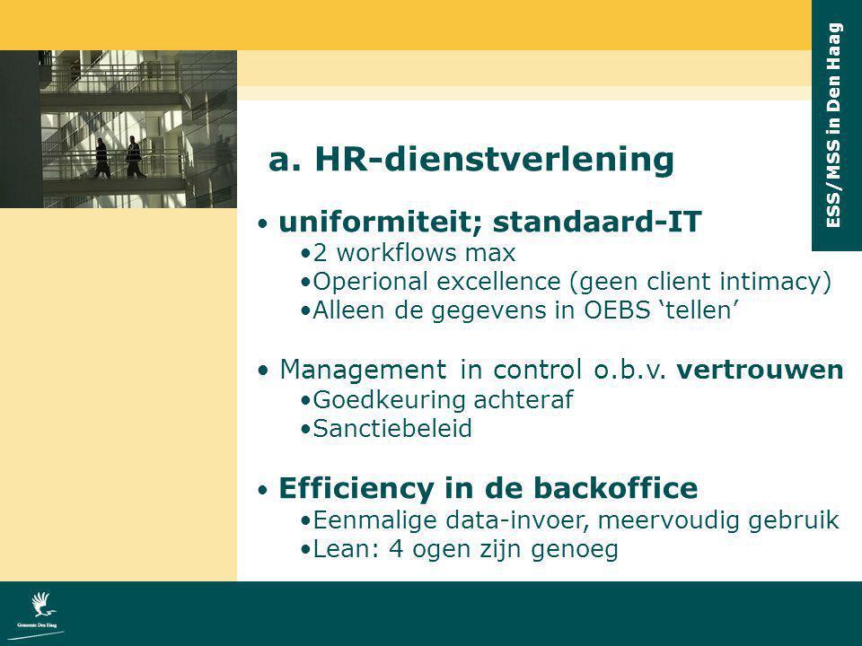ESS/MSS in Den Haag a. HR-dienstverlening uniformiteit; standaard-IT 2 workflows max Operional excellence (geen client intimacy) Alleen de gegevens in