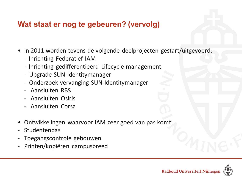 Wat staat er nog te gebeuren? (vervolg) In 2011 worden tevens de volgende deelprojecten gestart/uitgevoerd: - Inrichting Federatief IAM - Inrichting g