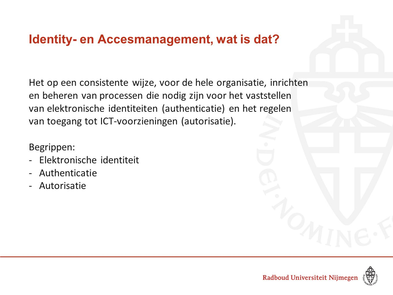 Identity- en Accesmanagement, wat is dat? Het op een consistente wijze, voor de hele organisatie, inrichten en beheren van processen die nodig zijn vo