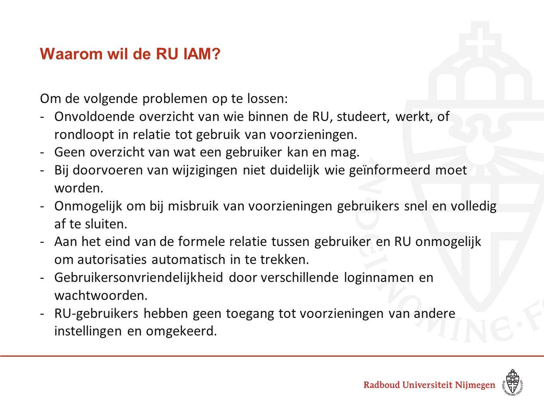 Waarom wil de RU IAM? Om de volgende problemen op te lossen: -Onvoldoende overzicht van wie binnen de RU, studeert, werkt, of rondloopt in relatie tot