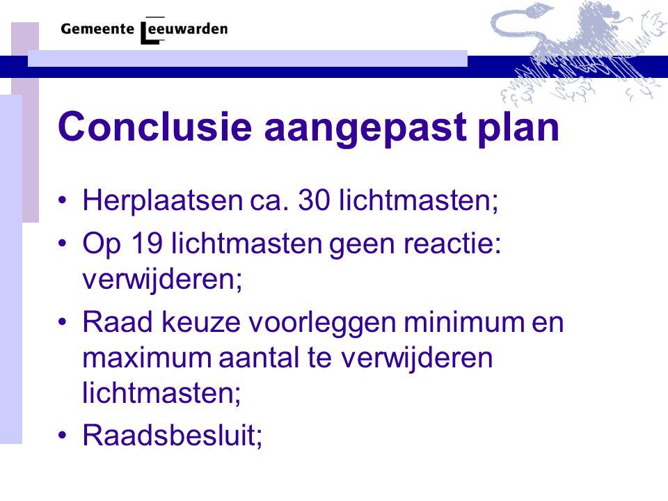 Conclusie aangepast plan Herplaatsen ca. 30 lichtmasten; Op 19 lichtmasten geen reactie: verwijderen; Raad keuze voorleggen minimum en maximum aantal