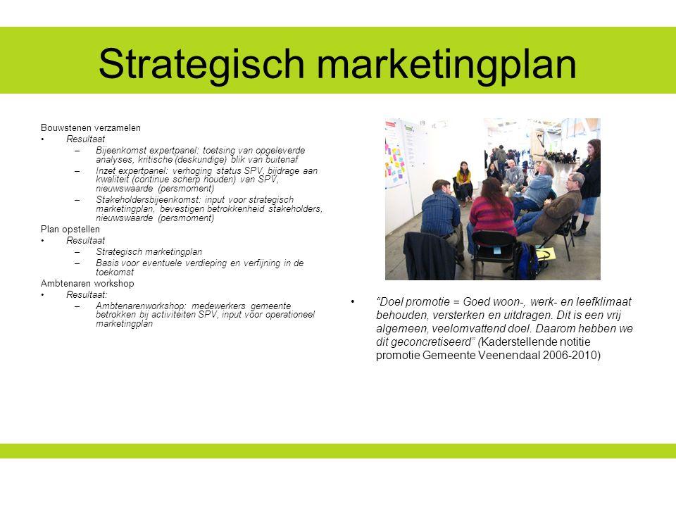 Strategisch marketingplan Doel promotie = Goed woon-, werk- en leefklimaat behouden, versterken en uitdragen.