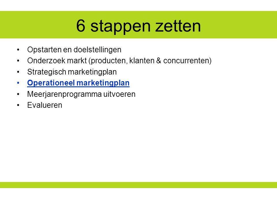 6 stappen zetten Opstarten en doelstellingen Onderzoek markt (producten, klanten & concurrenten) Strategisch marketingplan Operationeel marketingplan Meerjarenprogramma uitvoeren Evalueren
