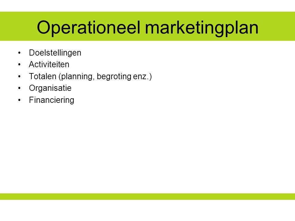 Operationeel marketingplan Doelstellingen Activiteiten Totalen (planning, begroting enz.) Organisatie Financiering