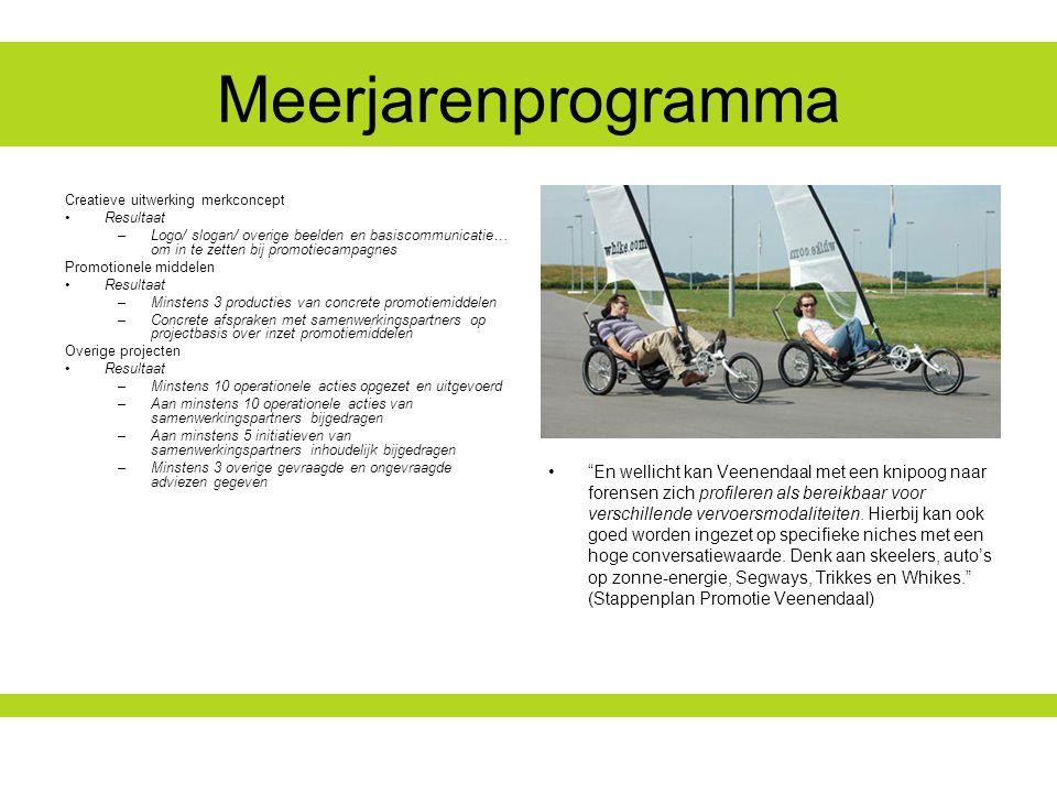 Meerjarenprogramma En wellicht kan Veenendaal met een knipoog naar forensen zich profileren als bereikbaar voor verschillende vervoersmodaliteiten.