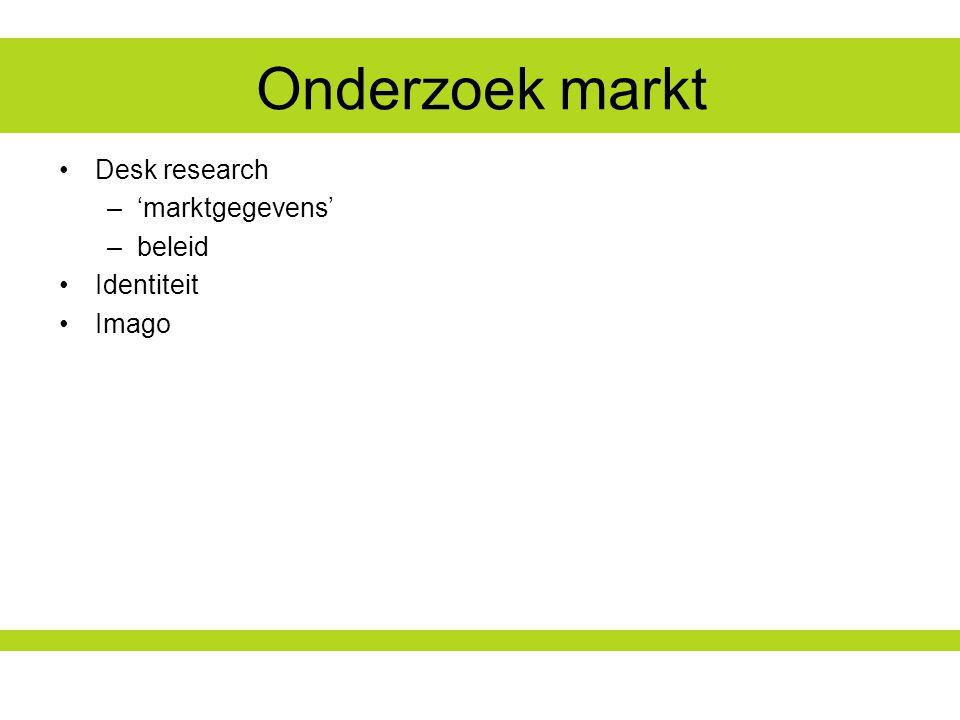 Onderzoek markt Desk research –'marktgegevens' –beleid Identiteit Imago