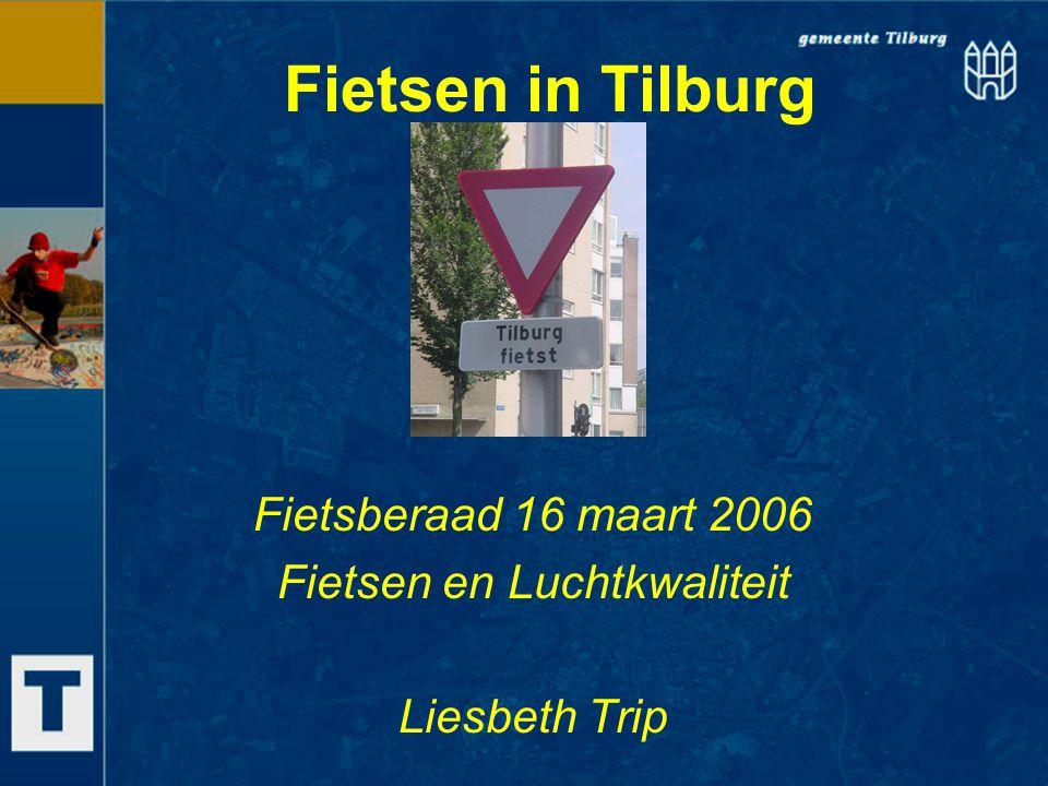 Fietsplan Tilburg 2005 – 2015 Gestart in 2004, als uitwerking van Verkeersplan Vaststelling in de raad op 19 april 2006 Motieven: bereikbaarheid bestemmingen in Tilburg volksgezondheid Milieu, en dus ook 'lucht' Hoofddoelstelling: Aandeel fietsverkeer terugbrengen op niveau '02 (± 30%)