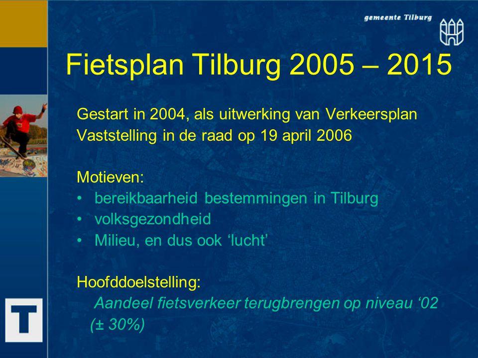 Fietsplan Tilburg 2005 – 2015 Gestart in 2004, als uitwerking van Verkeersplan Vaststelling in de raad op 19 april 2006 Motieven: bereikbaarheid beste