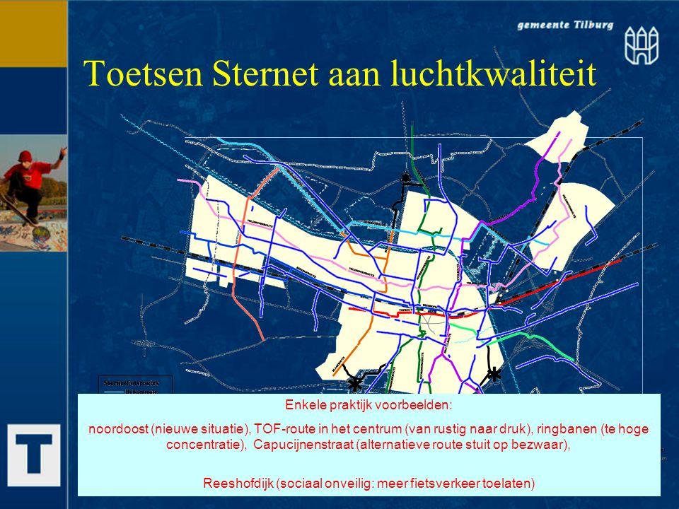 Toetsen Sternet aan luchtkwaliteit Enkele praktijk voorbeelden: noordoost (nieuwe situatie), TOF-route in het centrum (van rustig naar druk), ringbane