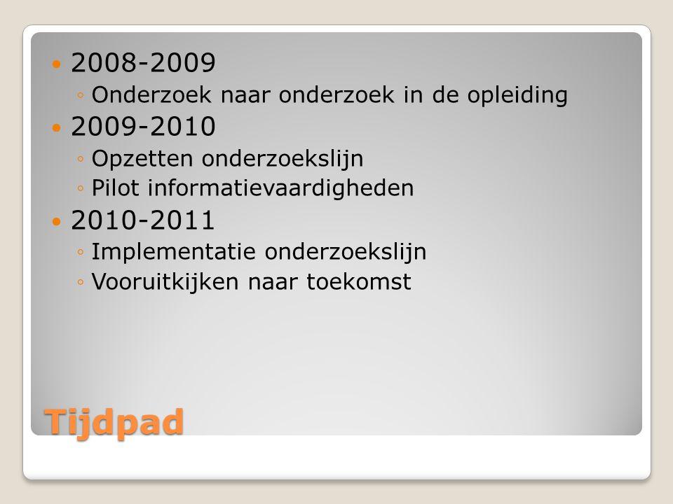 Tijdpad 2008-2009 ◦Onderzoek naar onderzoek in de opleiding 2009-2010 ◦Opzetten onderzoekslijn ◦Pilot informatievaardigheden 2010-2011 ◦Implementatie onderzoekslijn ◦Vooruitkijken naar toekomst
