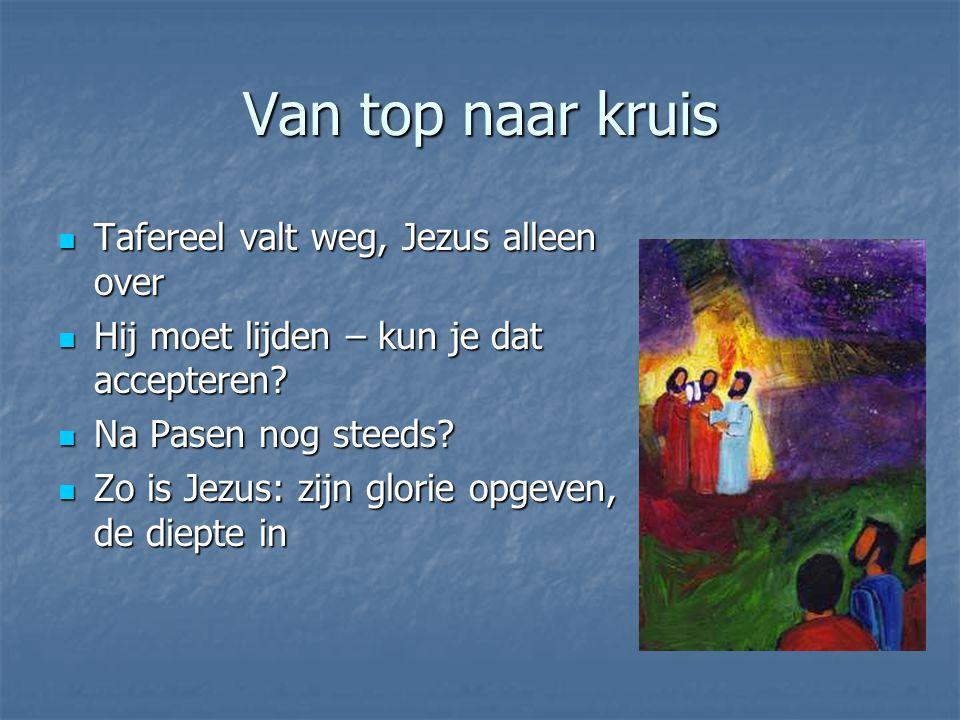 Van top naar kruis Tafereel valt weg, Jezus alleen over Tafereel valt weg, Jezus alleen over Hij moet lijden – kun je dat accepteren.