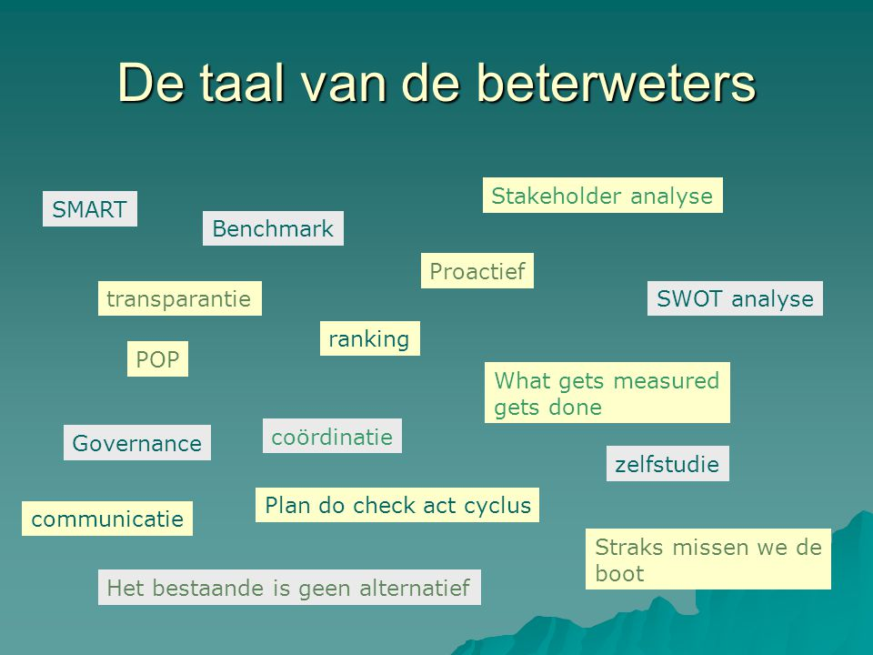 De taal van de beterweters SMART POP Benchmark ranking Proactief Governance Plan do check act cyclus What gets measured gets done Stakeholder analyse Het bestaande is geen alternatief Straks missen we de boot SWOT analyse zelfstudie transparantie communicatie coördinatie