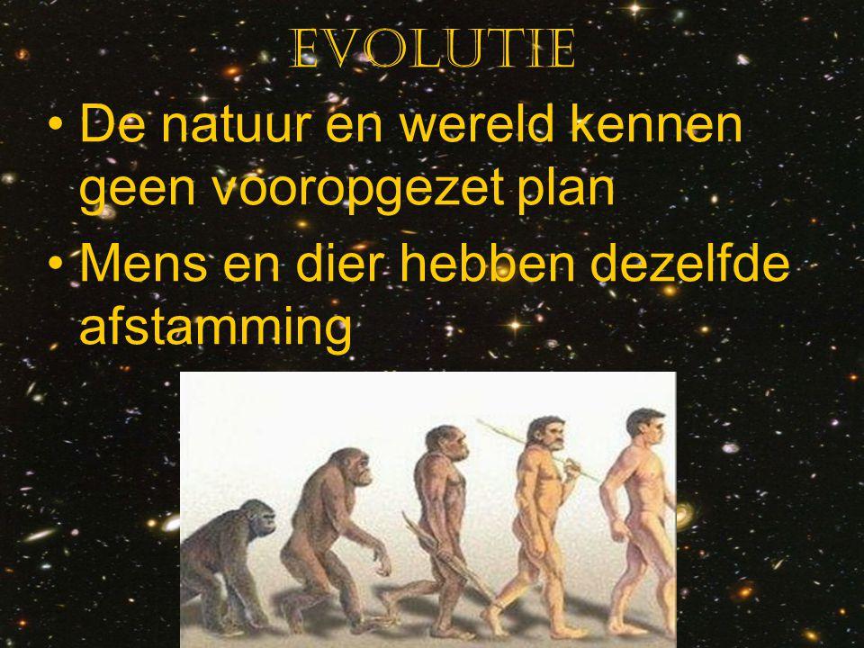 Evolutie De natuur en wereld kennen geen vooropgezet plan Mens en dier hebben dezelfde afstamming