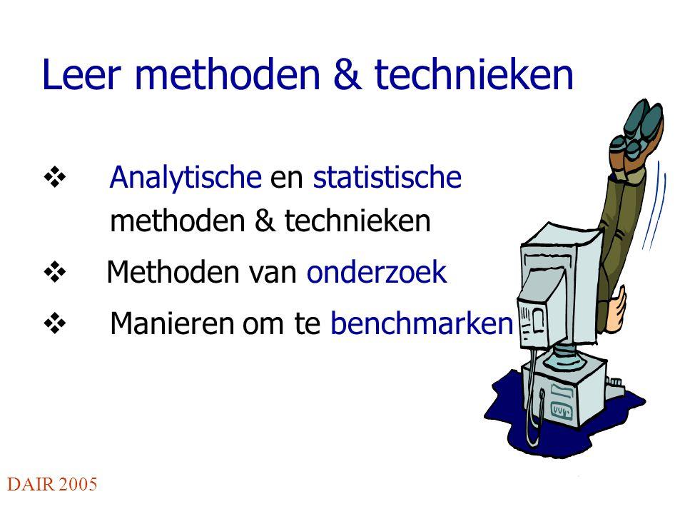 Leer methoden & technieken  Analytische en statistische methoden & technieken  Methoden van onderzoek  Manieren om te benchmarken DAIR 2005
