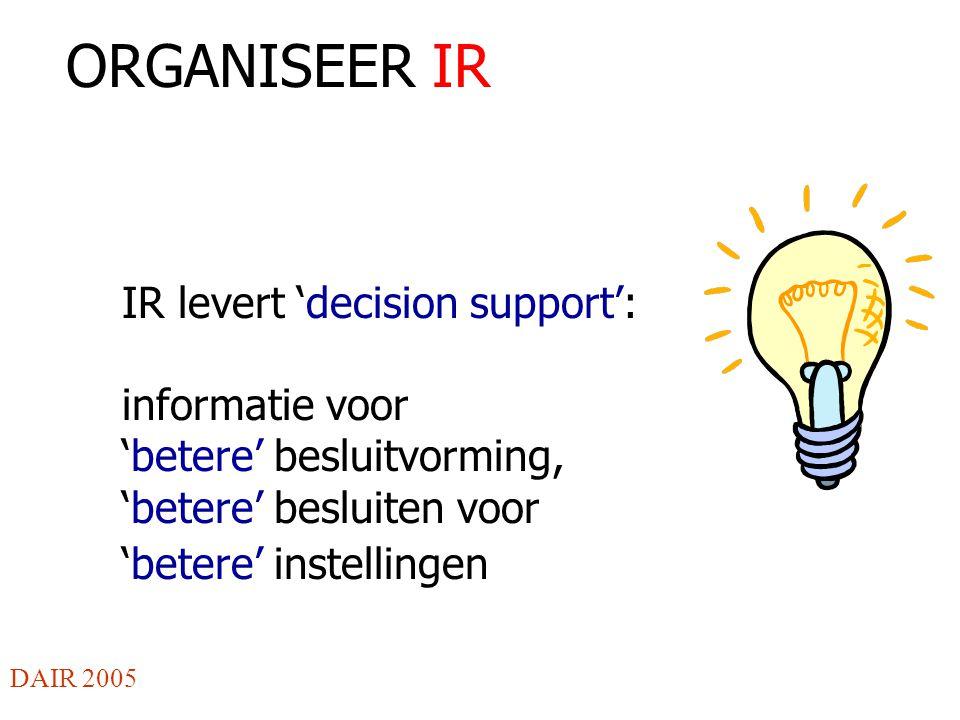 ORGANISEER IR IR levert 'decision support': informatie voor 'betere' besluitvorming, 'betere' besluiten voor 'betere' instellingen DAIR 2005