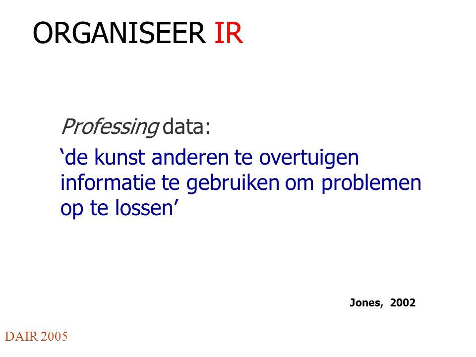 ORGANISEER IR Professing data: 'de kunst anderen te overtuigen informatie te gebruiken om problemen op te lossen' DAIR 2005 Jones, 2002