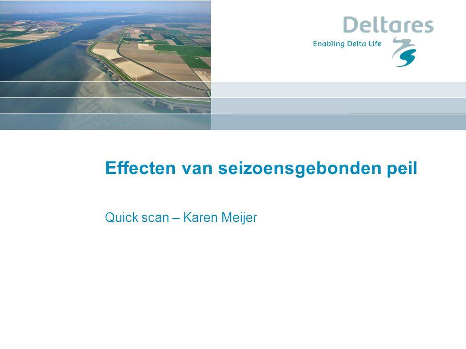 Seizoensgebonden peil randvoorwaarden (veiligheid) beoogd effect (zoetwater en ecologie) niet-beoogd effect lokaal (recreatie, scheepvaart) regionaal (aanvoer/afvoer, zoute kwel, grondwaterstandsdaling)
