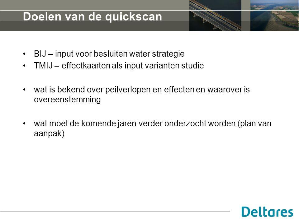 Doelen van de quickscan BIJ – input voor besluiten water strategie TMIJ – effectkaarten als input varianten studie wat is bekend over peilverlopen en effecten en waarover is overeenstemming wat moet de komende jaren verder onderzocht worden (plan van aanpak)