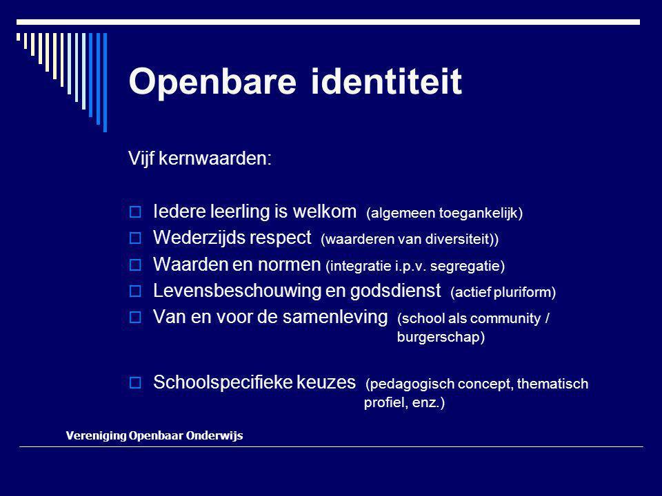 Openbare identiteit Vijf kernwaarden:  Iedere leerling is welkom (algemeen toegankelijk)  Wederzijds respect (waarderen van diversiteit))  Waarden en normen (integratie i.p.v.