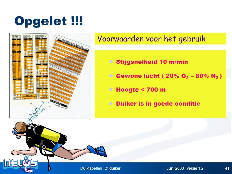Juni 2003 - versie 1.2Duiktabellen - 2* duiker41 Opgelet !!! Stijgsnelheid 10 m/min Gewone lucht ( 20% O 2 – 80% N 2 ) Hoogte < 700 m Duiker is in goe