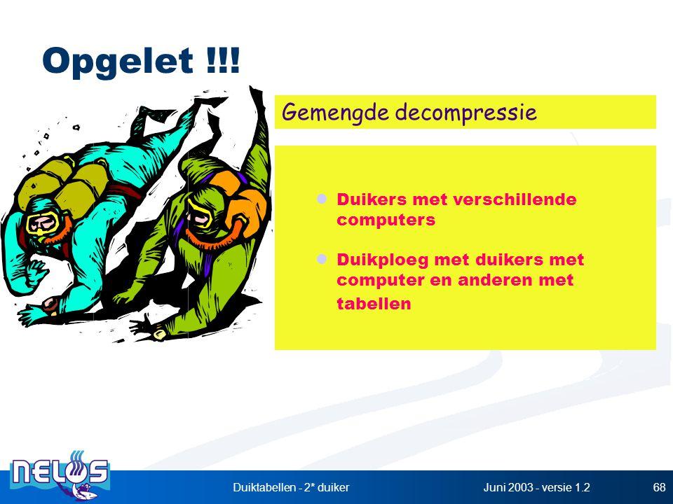 Juni 2003 - versie 1.2Duiktabellen - 2* duiker68 Opgelet !!! Duikers met verschillende computers Duikploeg met duikers met computer en anderen met tab