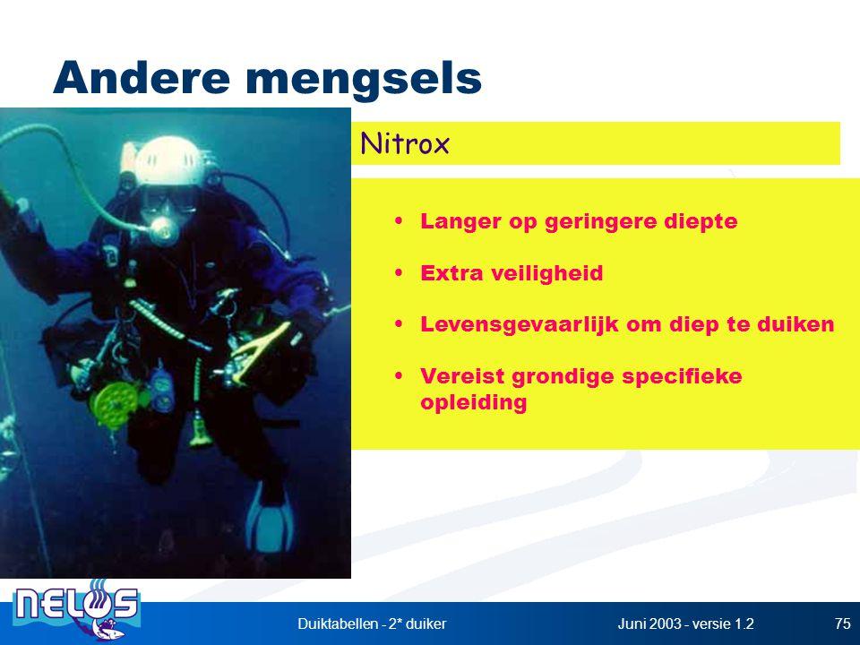 Juni 2003 - versie 1.2Duiktabellen - 2* duiker75 Andere mengsels Langer op geringere diepte Extra veiligheid Levensgevaarlijk om diep te duiken Vereis