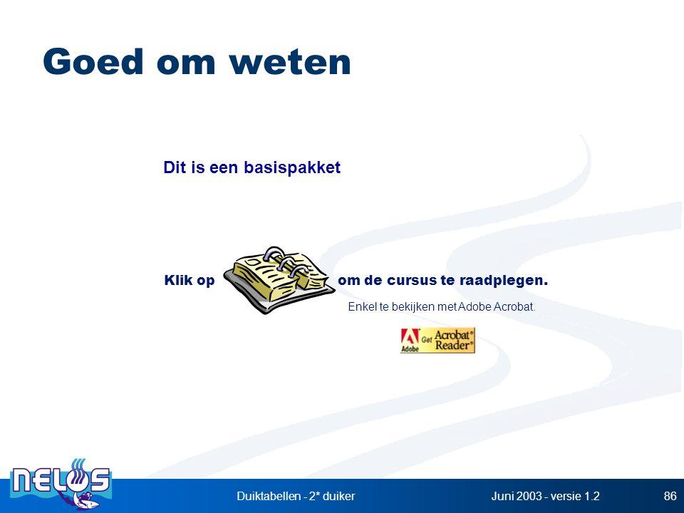 Juni 2003 - versie 1.2Duiktabellen - 2* duiker86 Goed om weten Klik op om de cursus te raadplegen. Enkel te bekijken met Adobe Acrobat. Dit is een bas