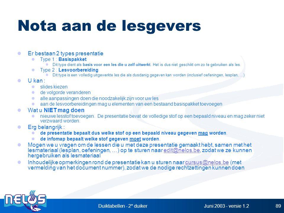 Juni 2003 - versie 1.2Duiktabellen - 2* duiker89 Nota aan de lesgevers Er bestaan 2 types presentatie Type 1 : Basispakket Dit type dient als basis vo