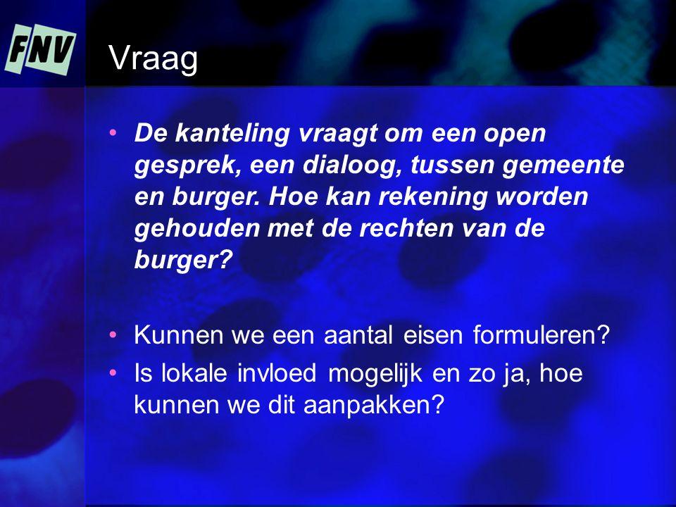 Vraag De kanteling vraagt om een open gesprek, een dialoog, tussen gemeente en burger. Hoe kan rekening worden gehouden met de rechten van de burger?