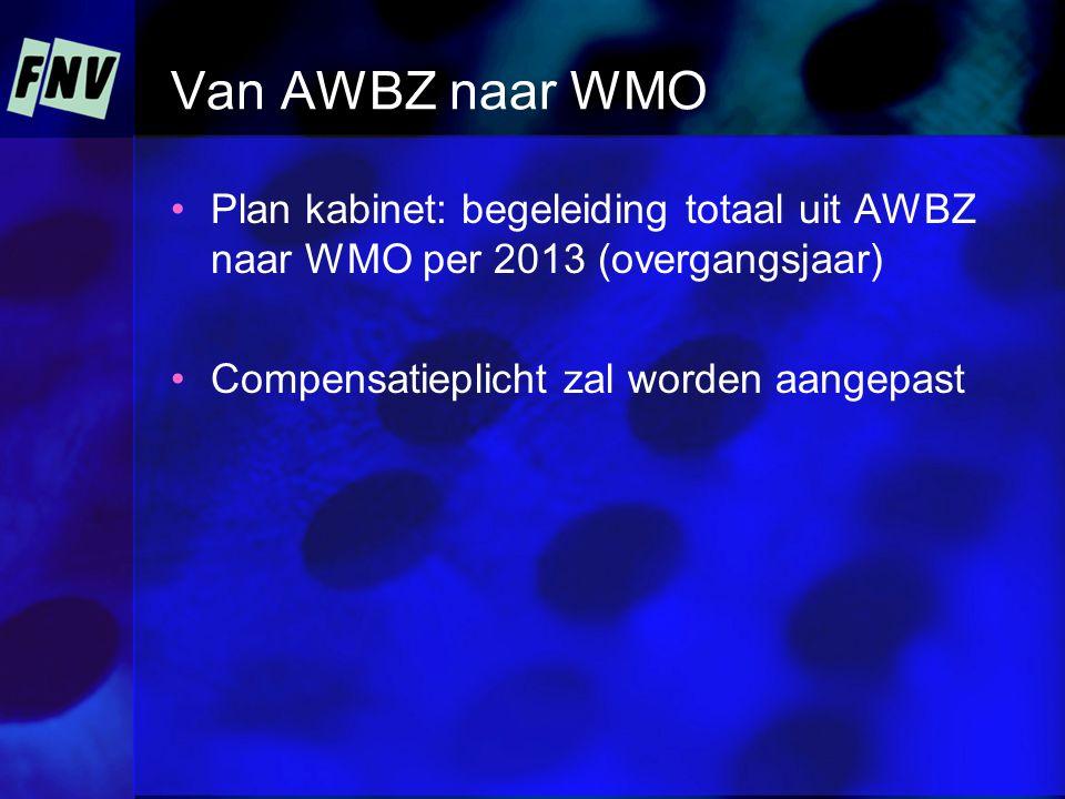 Van AWBZ naar WMO Plan kabinet: begeleiding totaal uit AWBZ naar WMO per 2013 (overgangsjaar) Compensatieplicht zal worden aangepast
