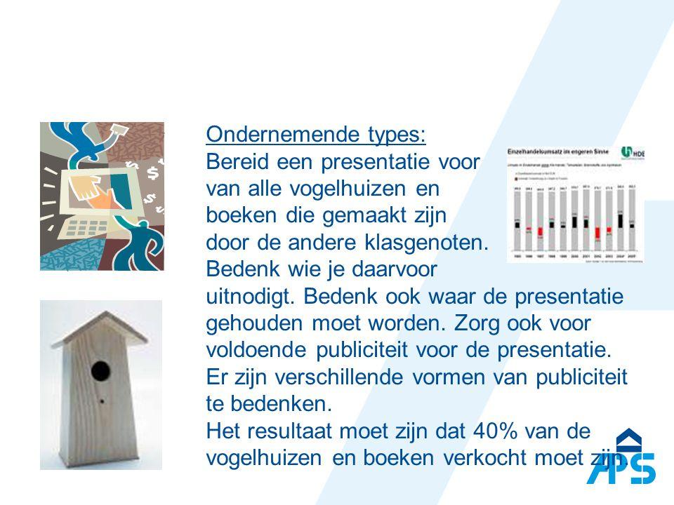 Ondernemende types: Bereid een presentatie voor van alle vogelhuizen en boeken die gemaakt zijn door de andere klasgenoten.