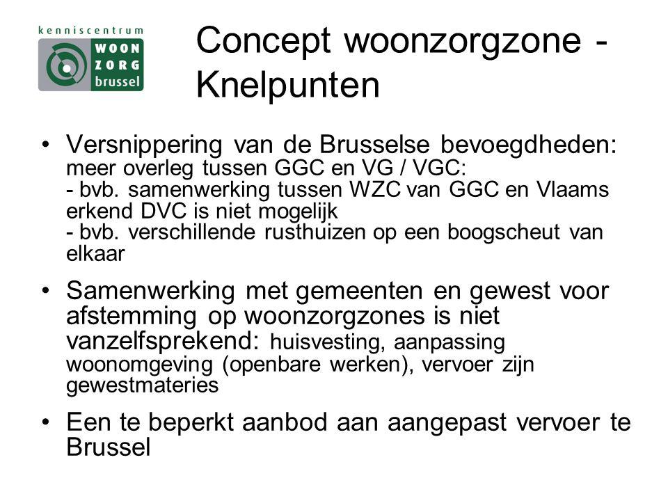 Concept woonzorgzone - Knelpunten Versnippering van de Brusselse bevoegdheden: meer overleg tussen GGC en VG / VGC: - bvb.