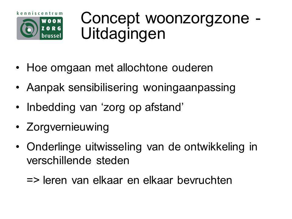 Concept woonzorgzone - Uitdagingen Hoe omgaan met allochtone ouderen Aanpak sensibilisering woningaanpassing Inbedding van 'zorg op afstand' Zorgvernieuwing Onderlinge uitwisseling van de ontwikkeling in verschillende steden => leren van elkaar en elkaar bevruchten