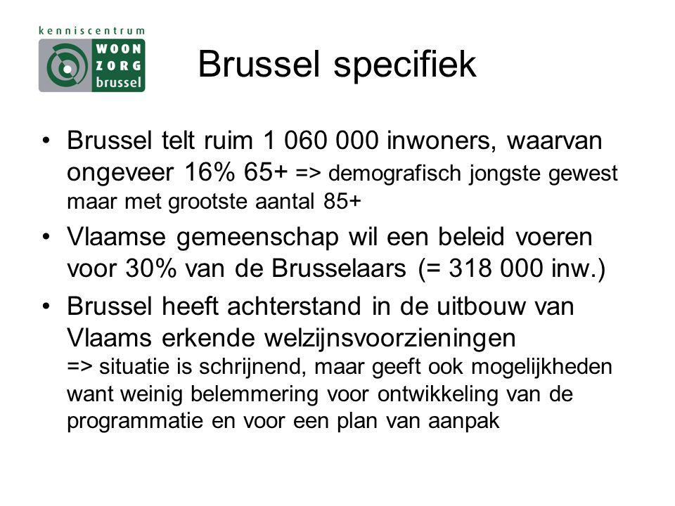 Brussel specifiek Brussel telt ruim 1 060 000 inwoners, waarvan ongeveer 16% 65+ => demografisch jongste gewest maar met grootste aantal 85+ Vlaamse gemeenschap wil een beleid voeren voor 30% van de Brusselaars (= 318 000 inw.) Brussel heeft achterstand in de uitbouw van Vlaams erkende welzijnsvoorzieningen => situatie is schrijnend, maar geeft ook mogelijkheden want weinig belemmering voor ontwikkeling van de programmatie en voor een plan van aanpak