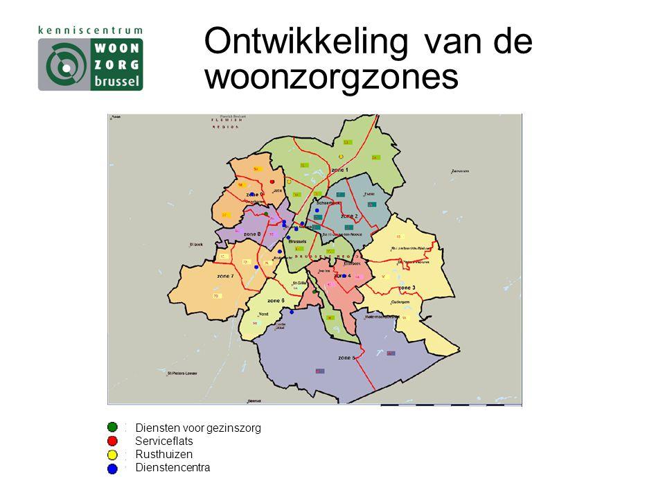 Ontwikkeling van de woonzorgzones Diensten voor gezinszorg Serviceflats Rusthuizen Dienstencentra