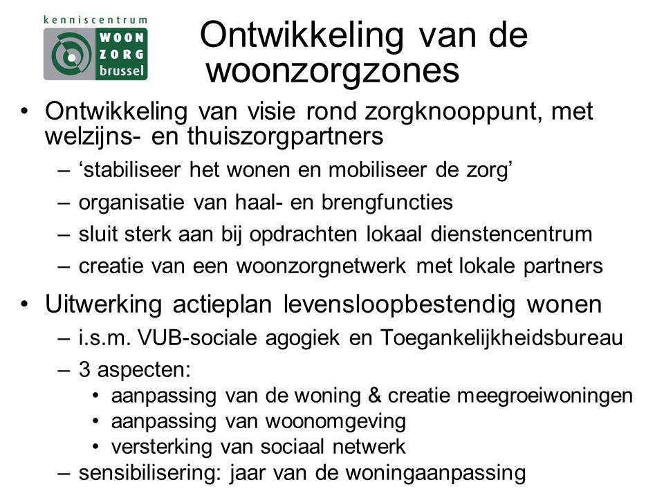 Ontwikkeling van de woonzorgzones Ontwikkeling van visie rond zorgknooppunt, met welzijns- en thuiszorgpartners –'stabiliseer het wonen en mobiliseer de zorg' –organisatie van haal- en brengfuncties –sluit sterk aan bij opdrachten lokaal dienstencentrum –creatie van een woonzorgnetwerk met lokale partners Uitwerking actieplan levensloopbestendig wonen –i.s.m.