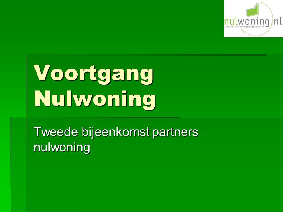 Voortgang Nulwoning Tweede bijeenkomst partners nulwoning