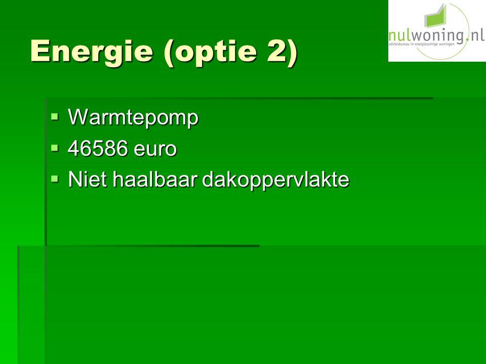 Energie (optie 2)  Warmtepomp  46586 euro  Niet haalbaar dakoppervlakte