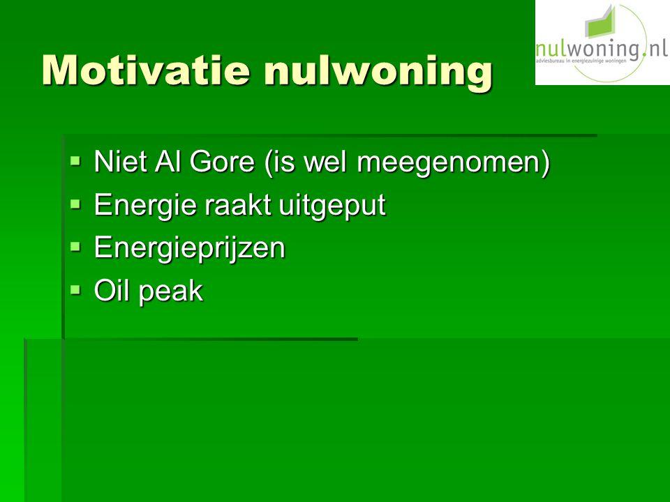 Motivatie nulwoning  Niet Al Gore (is wel meegenomen)  Energie raakt uitgeput  Energieprijzen  Oil peak