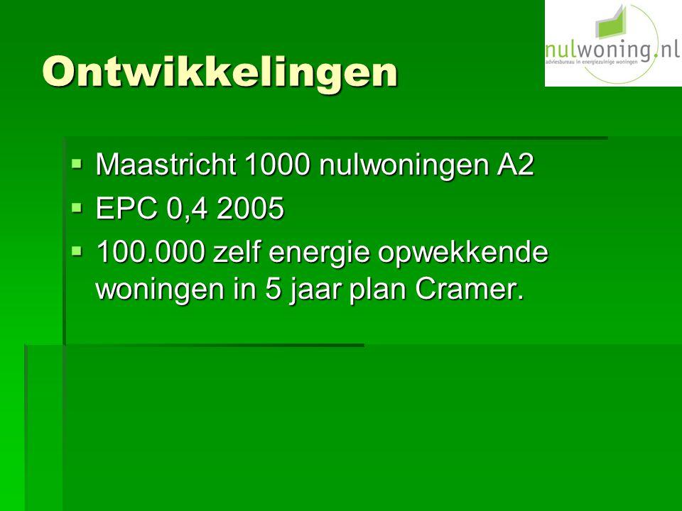 Ontwikkelingen  Maastricht 1000 nulwoningen A2  EPC 0,4 2005  100.000 zelf energie opwekkende woningen in 5 jaar plan Cramer.