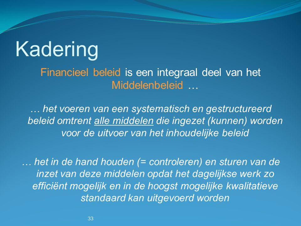 33 Financieel beleid is een integraal deel van het Middelenbeleid … … het voeren van een systematisch en gestructureerd beleid omtrent alle middelen d