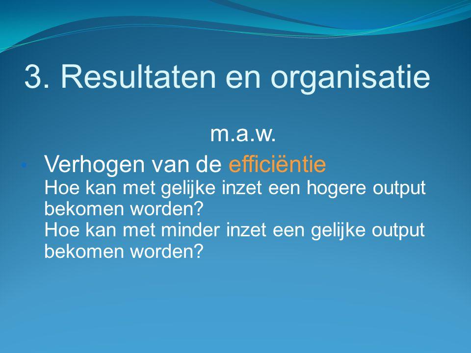 3. Resultaten en organisatie m.a.w. Verhogen van de efficiëntie Hoe kan met gelijke inzet een hogere output bekomen worden? Hoe kan met minder inzet e
