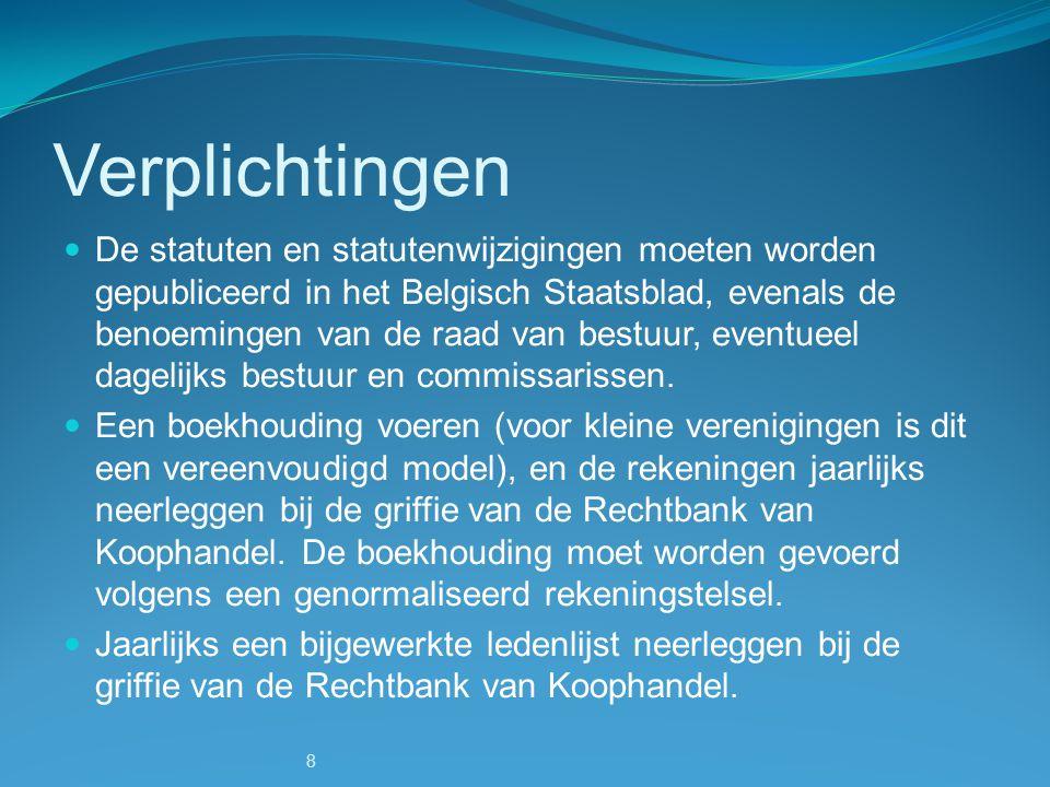 8 Verplichtingen De statuten en statutenwijzigingen moeten worden gepubliceerd in het Belgisch Staatsblad, evenals de benoemingen van de raad van best