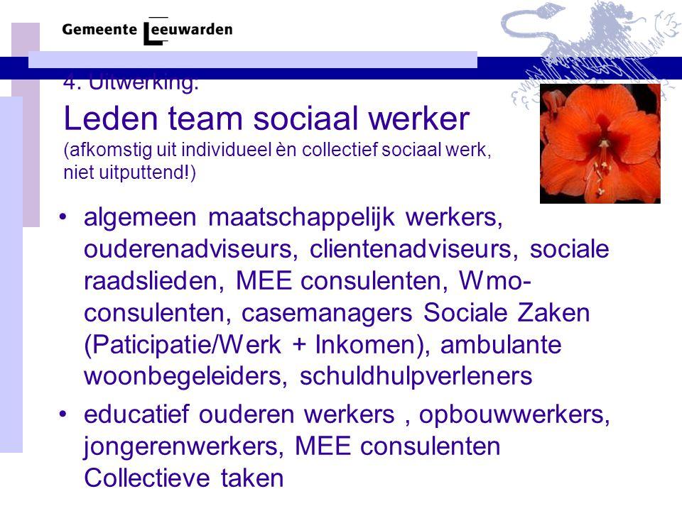 4. Uitwerking: Leden team sociaal werker (afkomstig uit individueel èn collectief sociaal werk, niet uitputtend!) algemeen maatschappelijk werkers, ou
