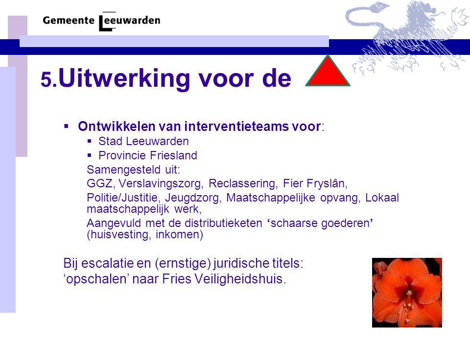 5. Uitwerking voor de  Ontwikkelen van interventieteams voor:  Stad Leeuwarden  Provincie Friesland Samengesteld uit: GGZ, Verslavingszorg, Reclass