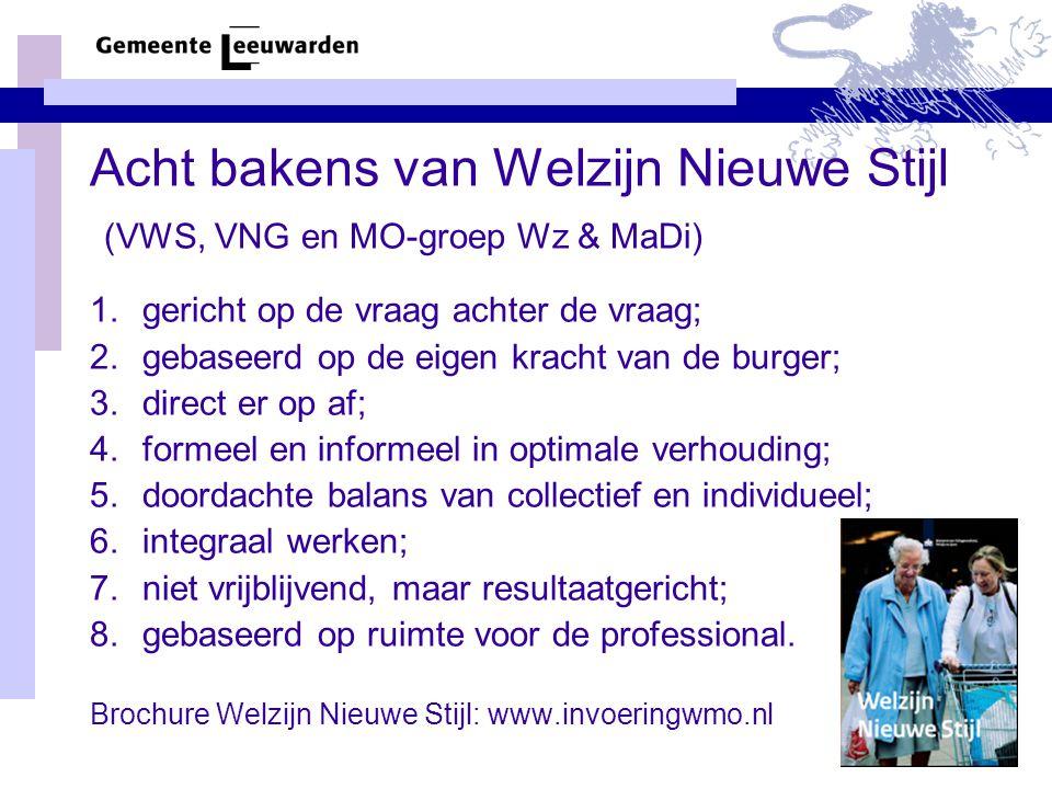 Acht bakens van Welzijn Nieuwe Stijl (VWS, VNG en MO-groep Wz & MaDi) 1.gericht op de vraag achter de vraag; 2.gebaseerd op de eigen kracht van de bur