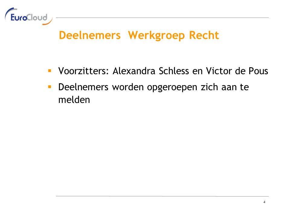 4 Deelnemers Werkgroep Recht  Voorzitters: Alexandra Schless en Victor de Pous  Deelnemers worden opgeroepen zich aan te melden