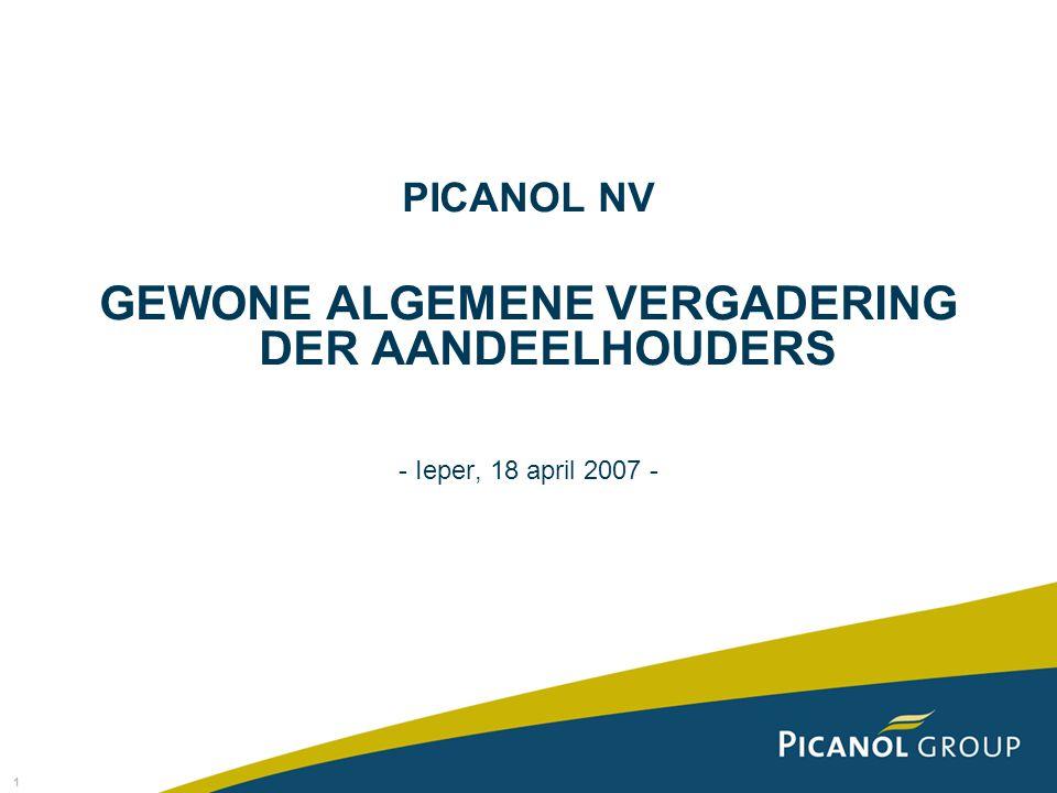 1 PICANOL NV GEWONE ALGEMENE VERGADERING DER AANDEELHOUDERS - Ieper, 18 april 2007 -