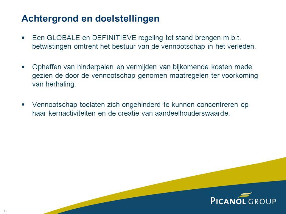 15 Achtergrond en doelstellingen  Een GLOBALE en DEFINITIEVE regeling tot stand brengen m.b.t. betwistingen omtrent het bestuur van de vennootschap i